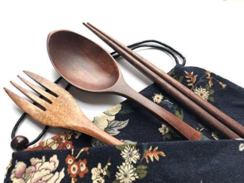 Japanese Natural Travel Utensils Wooden Tableware - Reusable Chopsticks Forks Spoons Knives Set - Wood Flatware 4 Piece Set in Beautiful Black Wooden Tableware D