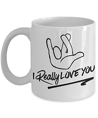 ASL Mug - I Really Love You Sign Language Coffee Cup - Great Gift for Deaf Hard of Hearing CODA or ASL Teacher or Interpreter