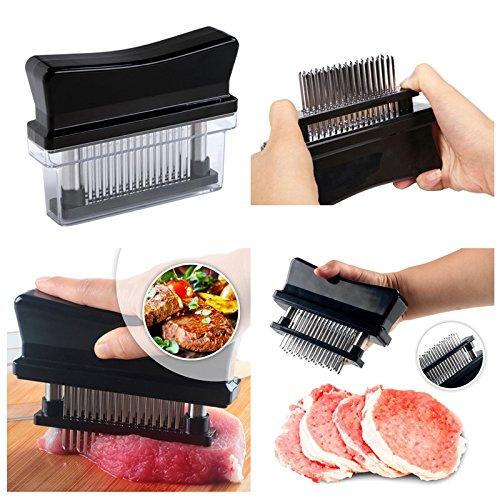 Sminiker Professional 48 Blades Stainless Steel Meat Tenderizer Tool Kitchen Basics Tools, Black