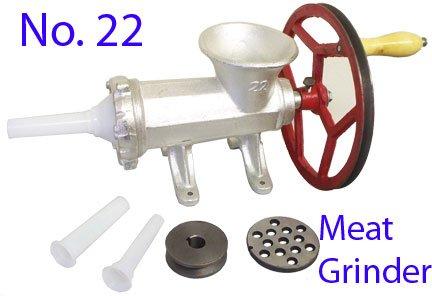 No. 22 Meat Grinder Ball Bearing Sausage Stuffer Maker 2 Plates W/ Motor Pulley