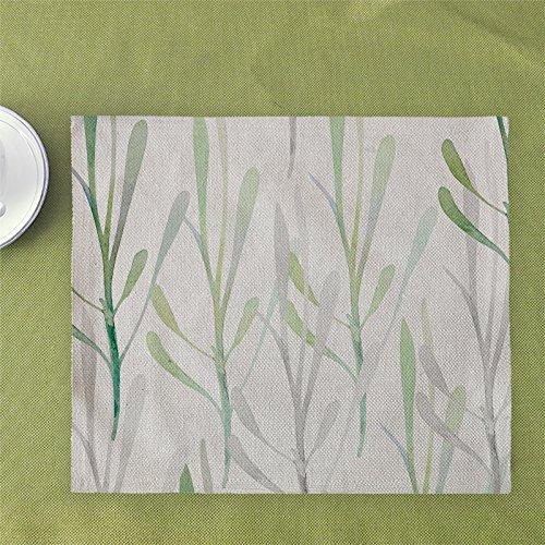 Modern Simple Green Plants Leaves Cotton Hemp Placemat Western Cutlery Mat E 32 45cm