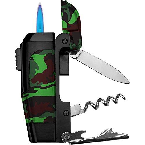 Spark 4-in-1 Multi-Tool LighterKnifeCorkscrewBottle Opener Camo