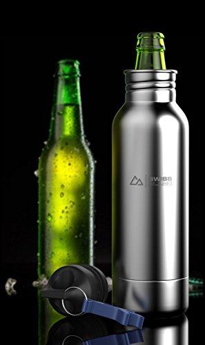 Swiss Blanc Stainless Steel Bottle Insulator with bottle opener and BONUS 11-in-1 Multi Tool Gift Pack