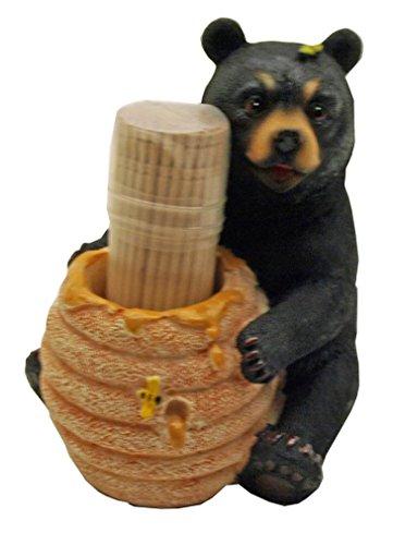 1 X Cute Black Bear  Honey Pot Toothpick Holder - Decorative Lodge Cabin Bear Cub Decor