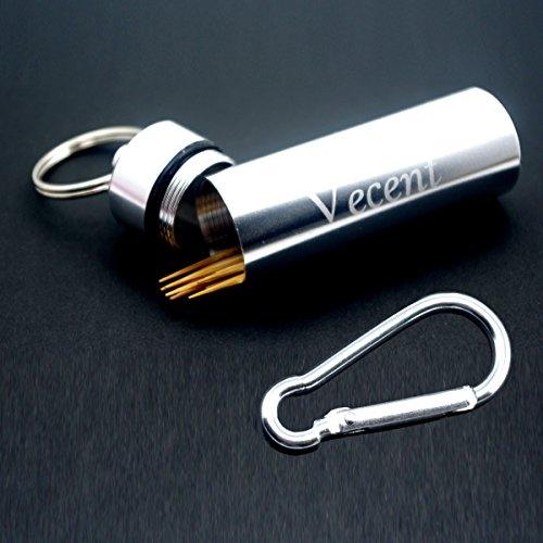 Vecent Portable Toothpick Holder All Purpose Mini box Waterproof Toothpick Box Pocket Metal Pill Case Key chain Cotton Swab Box Earphone box 3 IN