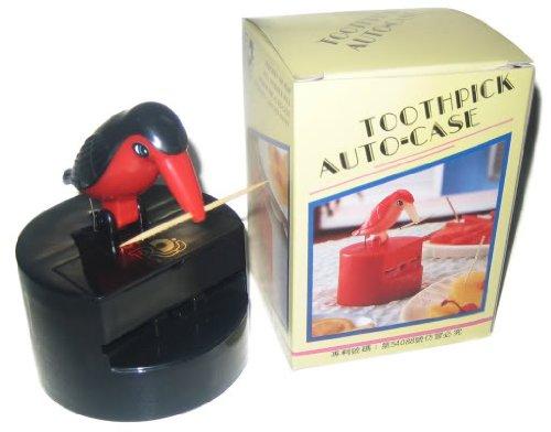 Toothpick Dispenser Bird Color Red  Black by RDJ