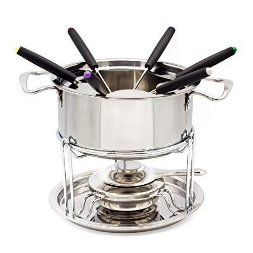 Stainless Steel Fondue Pot Inox Set WZH 13-set Fuel Fondue Temperature Controllable Chocolate Cheese