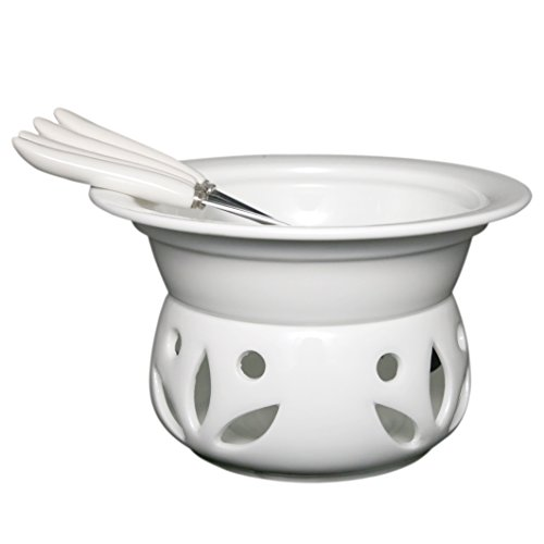 Itikky Cheese Chocolate Fondue Pot Set Porcelain with Forks 9 fl oz White