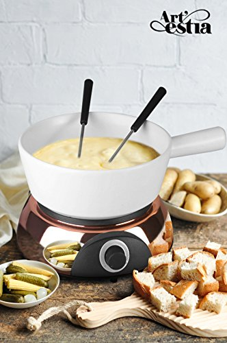 Artestia Electric Ceramic Fondue Set with 6 Fondue Forks Rose Gold Color BaseWhite Ceramic Pot