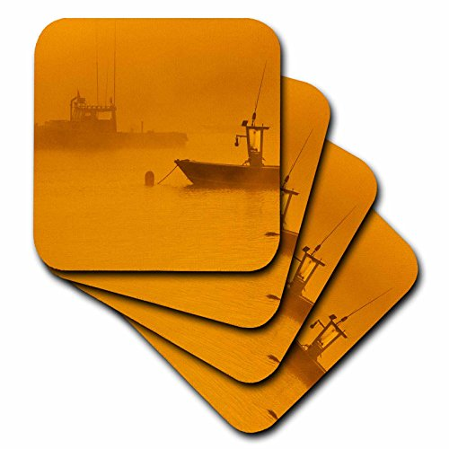 3dRose USA Maine Lobster Boats in Morning Fog At Bass Harbor - Ceramic Tile Coasters Set of 4 cst_205307_3