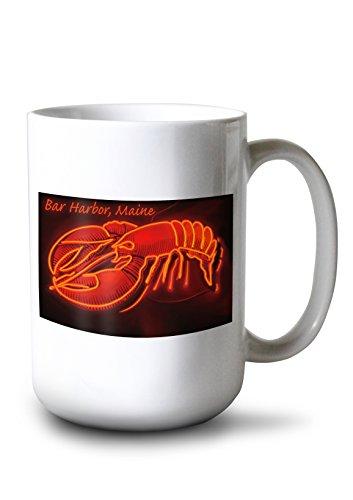 Bar Harbor Maine - Lobster Neon 15oz White Ceramic Mug