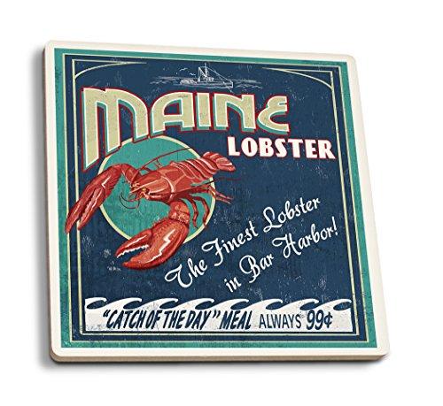Bar Harbor Maine - Lobster Vintage Sign Set of 4 Ceramic Coasters - Cork-backed Absorbent
