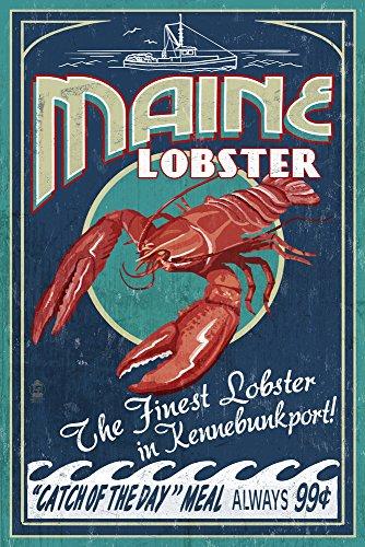 Kennebunkport Maine - Lobster Vintage Sign 12x18 Art Print Wall Decor Travel Poster