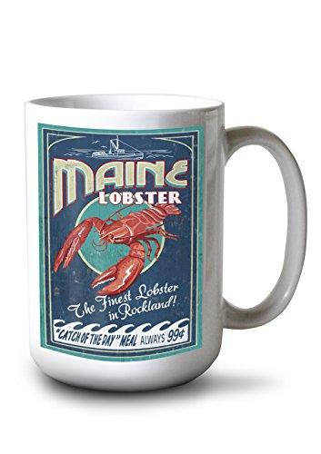 Rockland Maine - Lobster Vintage Sign 15oz White Ceramic Mug