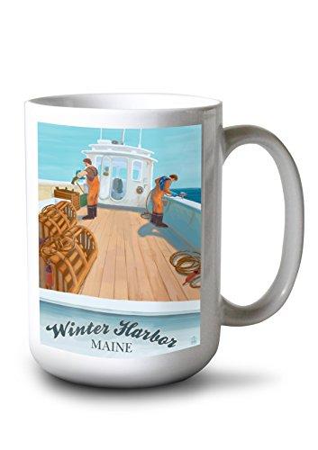 Winter Harbor Maine - Lobster Boat Scene 15oz White Ceramic Mug