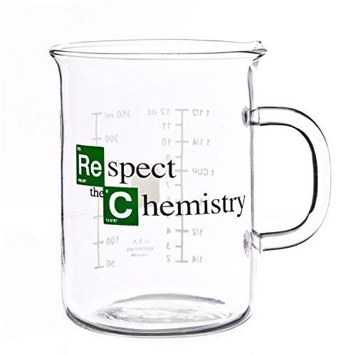 Respect The Chemistry 400 mL Glass Beaker Mug inspired by Breaking Bad