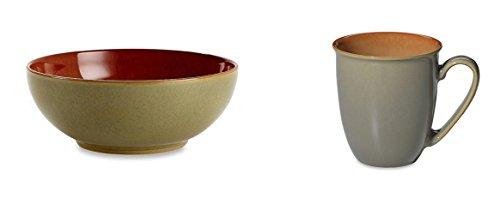 Denby Blends Fire Cereal Bowl and Coffee BeakerMug Set of 8