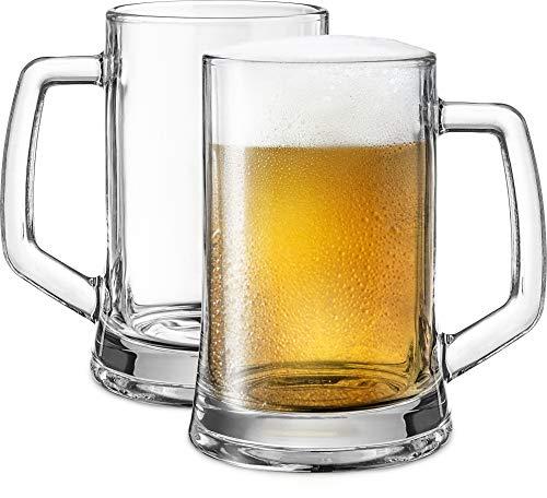 Beer Mugs by KooK Solid Glass Large Set of 2 22oz