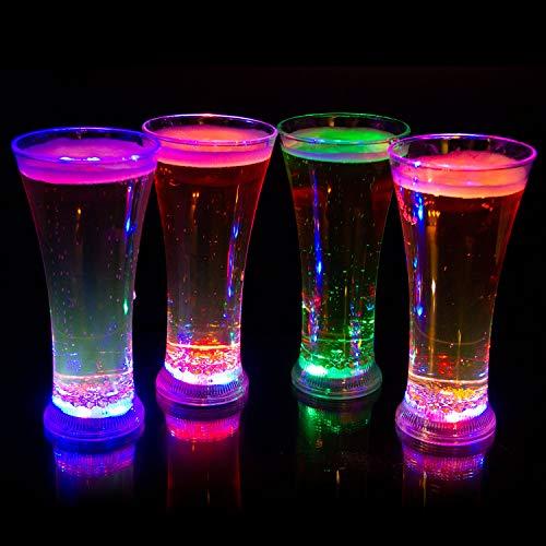 Liquid Activated Multicolor LED Pilsner Glasses ~ Fun Light Up Beer Glasses - 13 oz - Set of 4