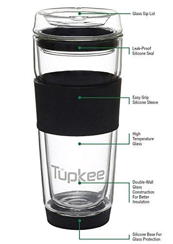 Tupkee Double Wall Glass Tumbler - All Glass Reusable Insulated TeaCoffee Mug Lid Hand Blown Glass Travel Mug 14-Ounce Black