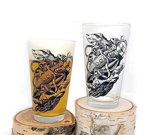 Kraken Sinking Submarine Glasses - Screen Printed Pint Glasses - Set of Two 16oz Pint Glasses