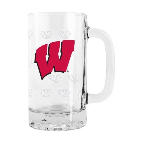 NCAA Wisconsin Badgers Satin Etch Tankard Glass 16-ounce