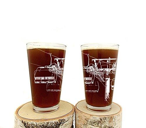 Ski Lift Pint Glasses - Set of Two 16oz Beer Glasses