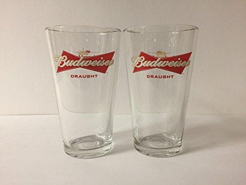 Budweiser Draught Beer 16oz Pint Glass - Beechwood Aged - 2 Pk