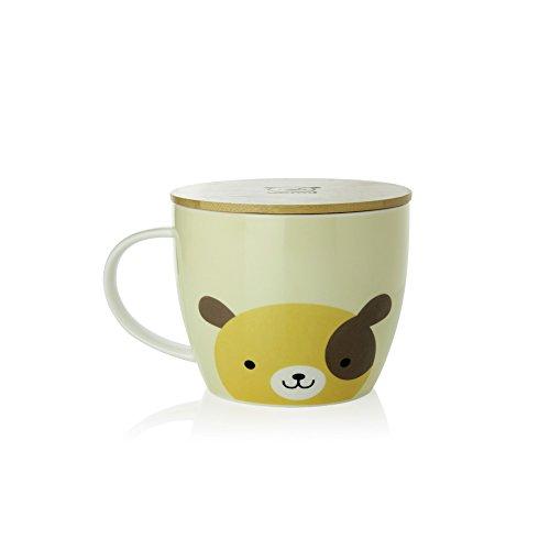 UPSTYLE Cute Coffee Mug Animal Pattern Ceramic Cup Travel Mug with Bamboo Lid for Instant Noodle Vegetables Fruit 304OZ CMBM6 Dog