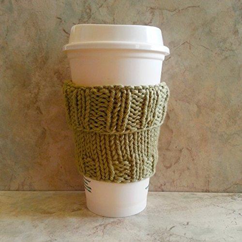 Coffee Cup Cozy Hand Knit Cotton Sage Green Mug Cozy fits a Short or Grande Coffee