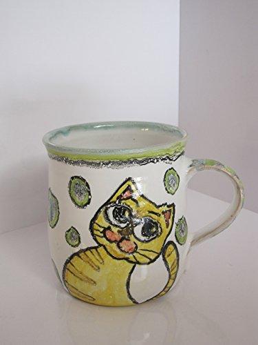 Tea Cups Cat Mug Cat Cup Pottery Cups Espresso Cup Pottery Handmade Stonemare Mug Child Mug Pets Mug Tea Mugs