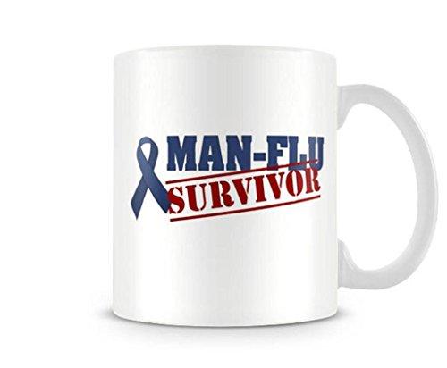 Emana Man flu survivor Funny gift printed mugs cup Portrait Ceramic Mug Water Cup Popular White Coffee Mugs