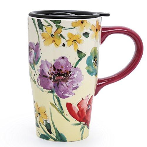 Minigift MN10004 Travel CupTea Coffee Mug Beautiful Ceramic Cups with Lid Flowers and Birds Handmade Milk Mug as Gift 16oz for Women Men Kids Colorful