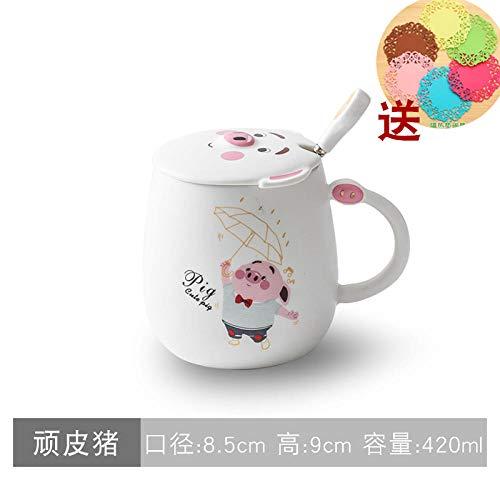 Piggy Ceramic Cup With Lid Spoon Creative Cup Coffee Mug Mug High Temperature Firing - Naughty Pig - White