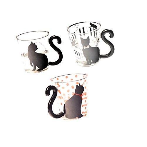 MonkeyJack Set of 3pcs Creative Cat Kitty Glass Mug Tea Milk Cup Coffee Cup with Handle