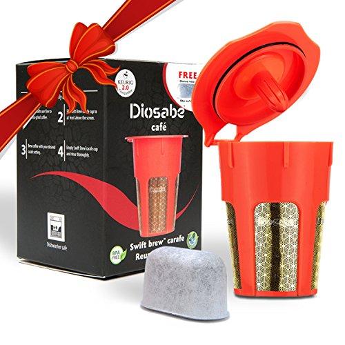 SwiftBrew 24k Gold Reusable K-Carafe Filter- K-Cup Reusable 4-5 Cup Coffee Filter Compatible With Keurig Brewers 20 - For K200 K300 K400 K500 With Bonus Keurig Water Filter