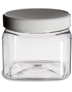 Clear Food Grade PET Plastic Square Grip Storage Jar w Cap - 16 Fluid Ounces - 6-Jar Pack 1-2 Cup Storage Capacity by Pride Of India