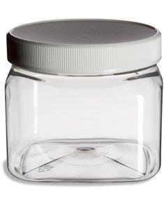 Clear Food Grade PET Plastic Square Grip Storage Jar w Cap - 16 Fluid Ounces - 6-Jar Pack 1-2 Cup Storage Capacity by Pride Of India