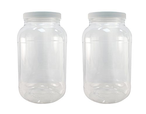 Crystal Clear PET Plastic Jars with Screw on Lids 1 gallon Set of 2 Wide Mouth By Pinnacle Mercantile