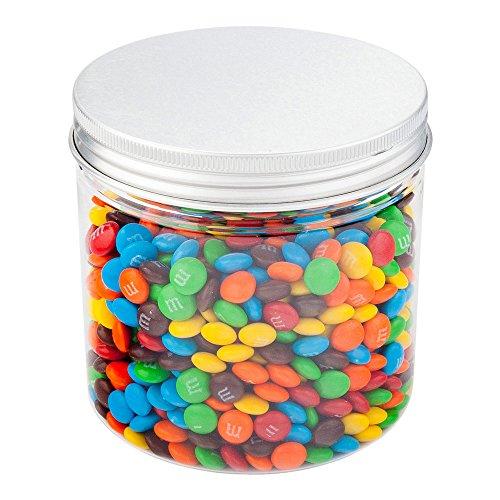Plastic Jar with Lid Candy Jar Snack Jar - Clear - 17 oz - Aluminum Lid - 100ct Box - Restaurantware
