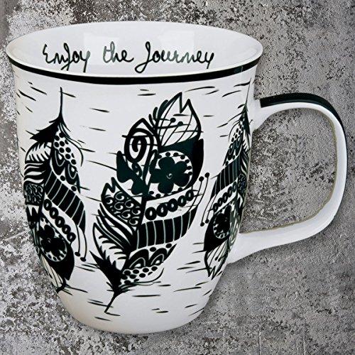 Karma Gifts Boho Black and White Mug Feather