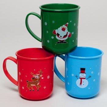 3 Plastic 12 Ounce Christmas Mugs Reindeer Santa and Snowman Designs by Regent