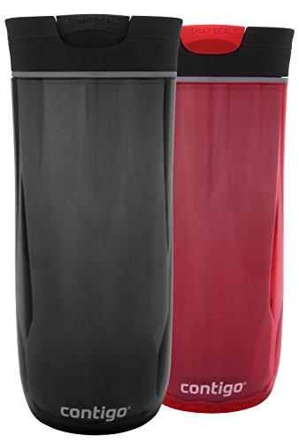 Contigo SnapSeal Byron Double-Wall Plastic Travel Mugs 16oz Red Black 2-Pack