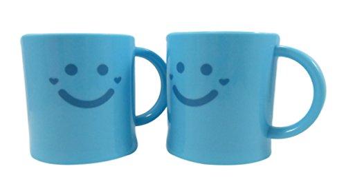 Happy Face Kids Plastic Mug 9 fl oz Neon Blue Set of 2