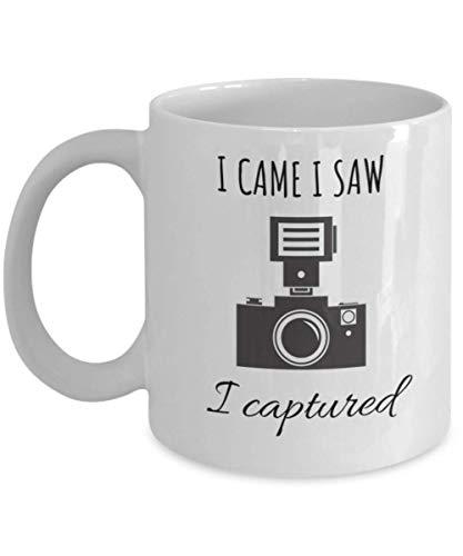 Photographer Mug- I Came I Saw I Captured- Best Photographer Wedding Photographer Gift- Camera Lens Coffee Mug- 11 oz White Ceramic Cup