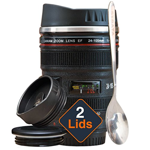 STRATA CUPS Camera Lens Coffee Mug -135oz SUPER BUNDLE 2 LIDS  SPOON Stainless Steel Thermos Sealed Retractable Lids Photographer Camera Mug Travel Coffee Cup Coffee Mugs for Men Women