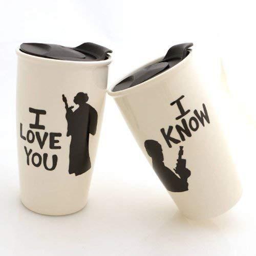 Han and Leia Star Wars Eco Funny Handmade Ceramic Travel Mug Set LennyMud by Lorrie Veasey