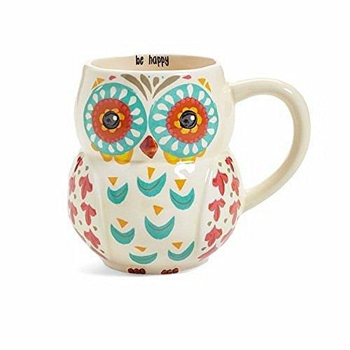 Natural Life MUG182 Folk Owl Mug Be Happy White