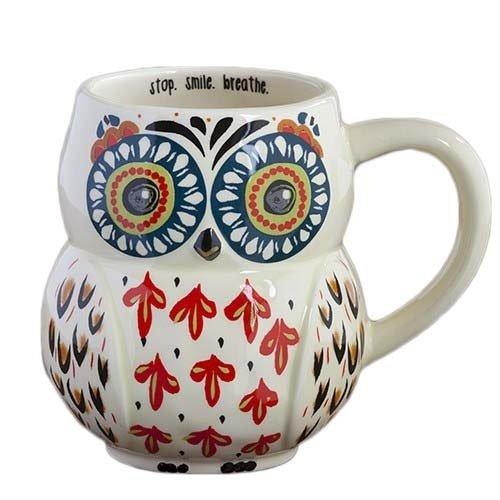 Natural Life MUG184 Folk Owl Mug Stop Smile Breathe White