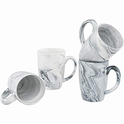 Culver 16-Ounce Palermo Ceramic Mug Set of 4 White and Black Olive Marbleized